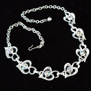 Beautiful Vintage AB Crystal Heart Necklace EUC